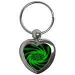 Neon Green and Black Goth Fractal Key Chain (Heart)