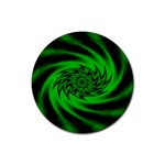 Neon Green and Black Goth Fractal Rubber Round Coaster (4 pack)