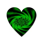 Neon Green and Black Goth Fractal Magnet (Heart)