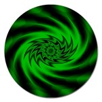 Neon Green and Black Goth Fractal Magnet 5  (Round)