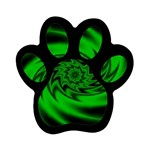 Neon Green and Black Goth Fractal Magnet (Paw Print)