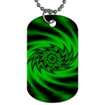Neon Green and Black Goth Fractal Dog Tag (One Side)