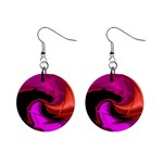 Rose and Black Explosion Fractal 1  Button Earrings