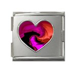 Rose and Black Explosion Fractal Mega Link Heart Italian Charm (18mm)