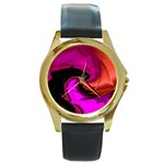 Rose and Black Explosion Fractal Round Gold Metal Watch