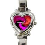 Rose and Black Explosion Fractal Heart Italian Charm Watch