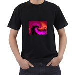 Rose and Black Explosion Fractal Black T-Shirt