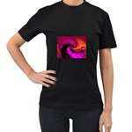 Rose and Black Explosion Fractal Women s Black T-Shirt