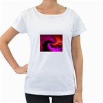 Rose and Black Explosion Fractal Maternity White T-Shirt