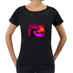 Rose and Black Explosion Fractal Maternity Black T-Shirt