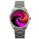 Rose and Black Explosion Fractal Sport Metal Watch
