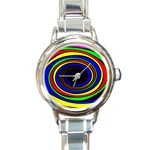 Primary Colors Bright Fractal Round Italian Charm Watch