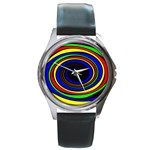 Primary Colors Bright Fractal Round Metal Watch