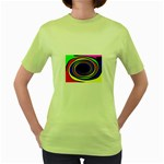 Primary Colors Bright Fractal Women s Green T-Shirt