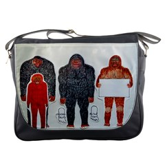 1 Neanderthal & 3 Big Foot,on White, Messenger Bag by creationtruth