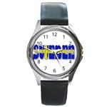 Flag Spells Sweden Round Leather Watch (Silver Rim)