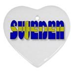 Flag Spells Sweden Heart Ornament