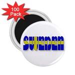 Flag Spells Sweden 2.25  Button Magnet (100 pack)