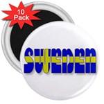 Flag Spells Sweden 3  Button Magnet (10 pack)