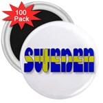Flag Spells Sweden 3  Button Magnet (100 pack)