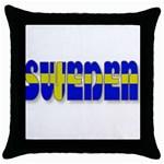 Flag Spells Sweden Black Throw Pillow Case