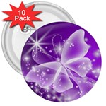Translucent Butterfly 3  Button (10 pack)