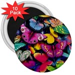 Rainbow of Butterflies 3  Magnet (10 pack)