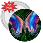 Purple Butterfly 3  Button (100 pack)