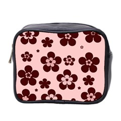 Pink With Brown Flowers Mini Travel Toiletry Bag (two Sides) by Khoncepts