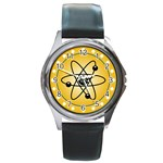 Atom Symbol Round Leather Watch (Silver Rim)