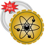 Atom Symbol 3  Button (100 pack)