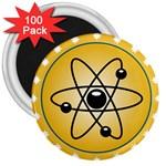 Atom Symbol 3  Button Magnet (100 pack)