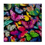 Rainbow of Butterflies Tile Coaster