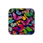 Rainbow of Butterflies Rubber Coaster (Square)