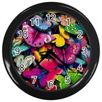 Rainbow of Butterflies Wall Clock (Black)