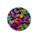 Rainbow of Butterflies Rubber Coaster (Round)