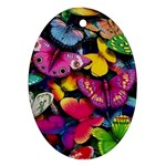 Rainbow of Butterflies Oval Ornament (Two Sides)