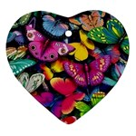 Rainbow of Butterflies Heart Ornament (Two Sides)