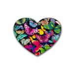 Rainbow of Butterflies Rubber Coaster (Heart)