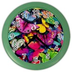 Rainbow of Butterflies Color Wall Clock