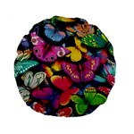 Rainbow of Butterflies 15  Premium Round Cushion