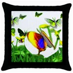 Butterflies In Flight Throw Pillow Case (Black)