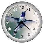 Male Ruby Throated Hummingbird In Flight Wall Clock (Silver)