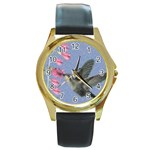 Hummingbird Oil Painting Round Gold Metal Watch