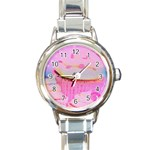 Cupcakes Covered In Sparkly Sugar Round Italian Charm Watch