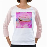 Cupcakes Covered In Sparkly Sugar Women s Long Cap Sleeve T-Shirt (White)