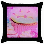 Cupcakes Covered In Sparkly Sugar Black Throw Pillow Case
