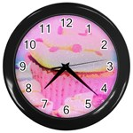 Cupcakes Covered In Sparkly Sugar Wall Clock (Black)