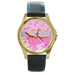 Cupcakes Covered In Sparkly Sugar Round Leather Watch (Gold Rim)