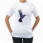 Hummingbird in Flight Women s T-Shirt (White) (Two Sided)